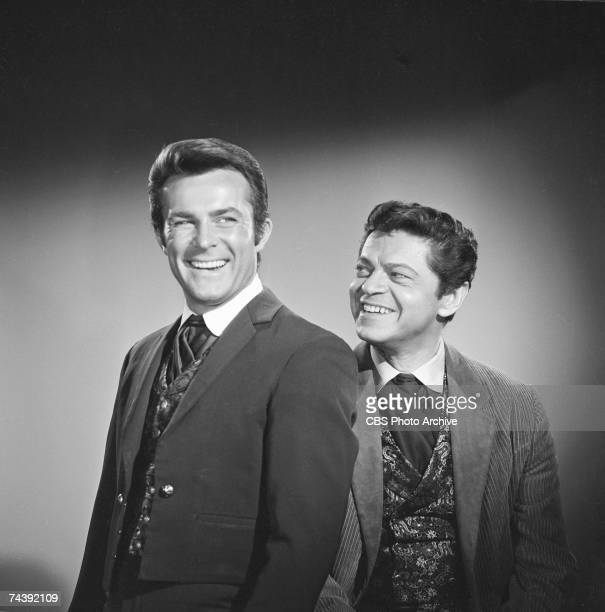 Promotional portrait of American actor Robert Conrad as James T West and Polishborn American actor Ross Martin as Artemus Gordon from the television...