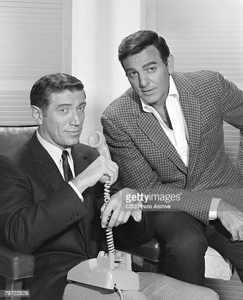 Promotional portrait of American actors Joseph Campanella as Lee Wickersham and Mike Connors as Joe Mannix in the television detective series...
