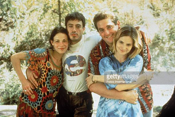 Promotional portrait of American actors Lili Taylor Robert Downey Jr Christopher Penn and Jennifer Jason Leigh on the set of the film 'Short Cuts'...