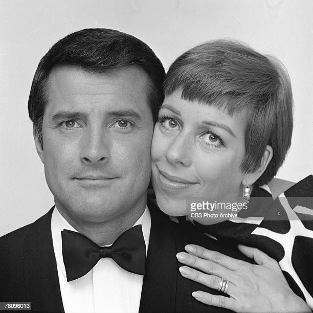 Promotional portrait of American actors Lyle Waggoner and Carol Burnett as they pose together for 'The Carol Burnett Show' May 29 1967