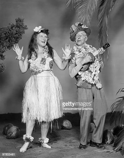 Promotional portrait of American actors Marjorie Main and Percy Kilbride as the titular characters in 'Ma and Pa Kettle at Waikiki' 1955