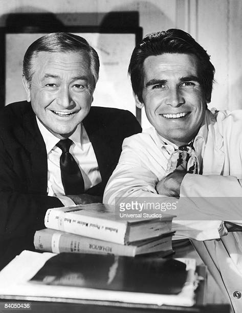 Promotional portrait of American actors Robert Young and James Brolin in the television series 'Marcus Welby MD' circa 1969