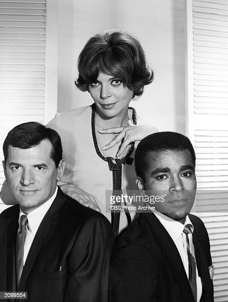 Promotional portrait of American actors Steven Hill Barbara Bain and Greg Morris for the television show 'Mission Impossible' circa 1967
