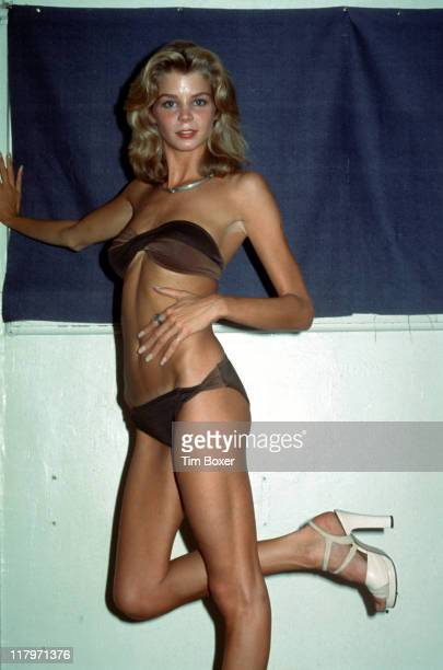 Promotional portrait of American actress and former Playboy cover girl Kristine DeBell dressed in a bikini in support of her film 'Alice In...