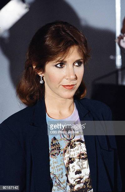 Promotional portrait of American actress Carrie Fisher as she poses on the set of 'Classic Creatures Return of the Jedi' a documentary about the...
