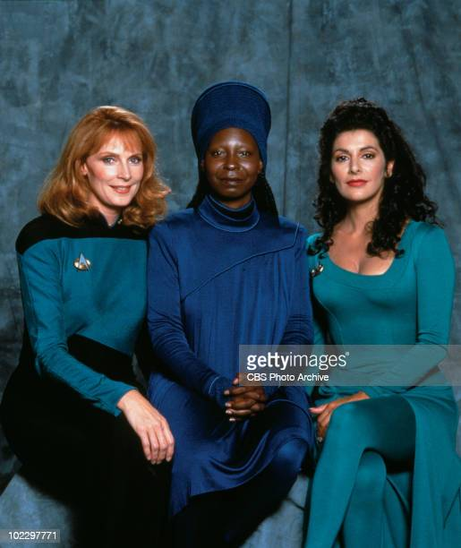 Promotional portrait of American actresses Gates McFadden and Whoopi Goldberg and BritishAmerican actress Marina Sirtis in 'Star Trek The Next...
