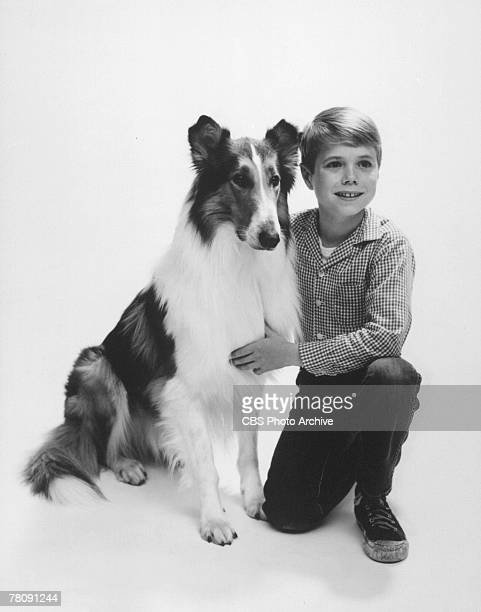 Promotional portrait of American animal actor Baby as Lassie and child actor Jon Provost as Timmy in the television series 'Lassie' 1959