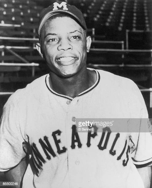 Promotional portrait of American baseball player Willie Mays of the Minneapolis Millers minor league team, 1951.
