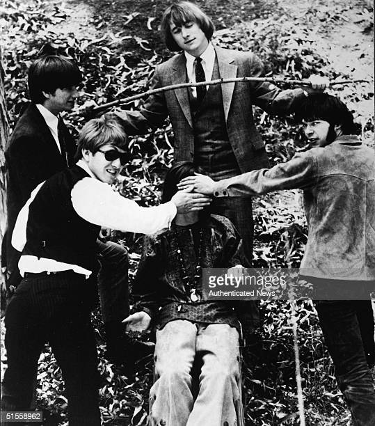 Promotional portrait of American folkrock group Buffalo Springfield 1960s From left American Richie Furay Canadian Dewey Martin American Stephen...