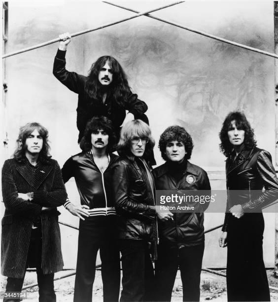 Promotional portrait of American rock group Jefferson Starship 1970s LR Pete Sears Craig Chaquico Mickey Thomas Paul Kantner David Freiberg and...