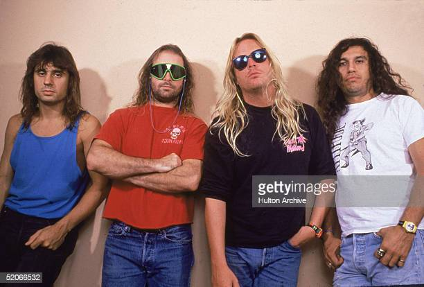Promotional portrait of American thrash metal band Slayer late 1980s The group who combine elements of heavy metal and punk rock consist of from left...
