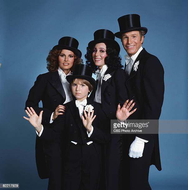 Promotional portrait of Americans actress and sex symbol Raquel Welch child actress Tatum O'Neal actress and singer Cher and actor Wayne Rogers all...