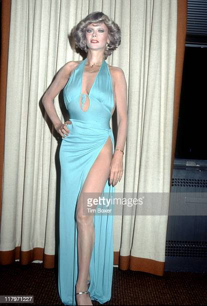 Promotional portrait of Belgianborn actress Monique Van Vooren in a light blue Jacques Bellini gown in support of her singing engagement at the...