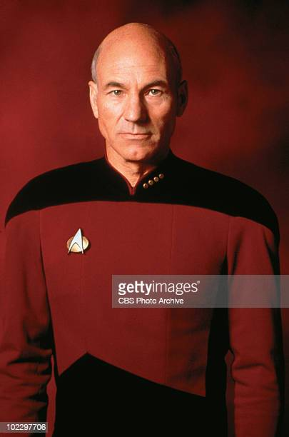 Promotional portrait of British actor Patrick Stewart in 'Star Trek: The Next Generation,' California, 1987.