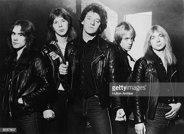 Promotional portrait of British heavy metal group Iron Maiden 1981 Steve Harris Clive Burr Paul Di'Anno Adrian Smith and Dave Murray