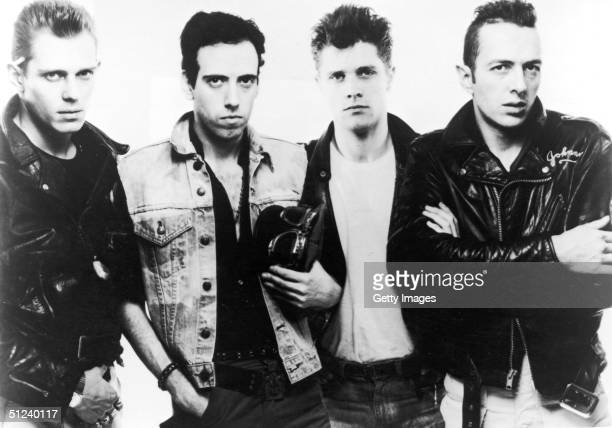Promotional portrait of British punk rock band The Clash. Left to right: Paul Simonon, Mick Jones, Pete Howard, and Joe Strummer .