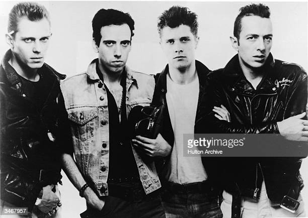 Promotional portrait of British punk rock group The Clash, 1983. Left to right, Paul Simonon, Mick Jones, Pete Howard, and Joe Strummer .