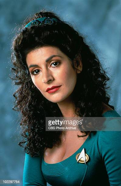 Promotional portrait of British-American actress Marina Sirtis in 'Star Trek: The Next Generation,' California, 1987.