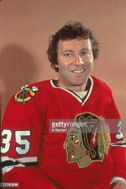 Promotional portrait of Canadian ice hockey player Tony Esposito goalkeeper for the Chicago Blackhawks early or mid 1970s