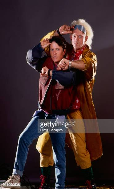 Promotional portrait of CanadianAmerican actor Michael J Fox and American actor Christopher Lloyd in costume for their film 'Back to the Future 2'...