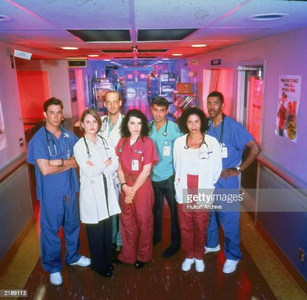 "Promotional portrait of cast members from the television series, ""E.R.,"" c. 1996. L-R: Noah Wyle, Sherry Stringfield, Anthony Edwards, Julianna..."