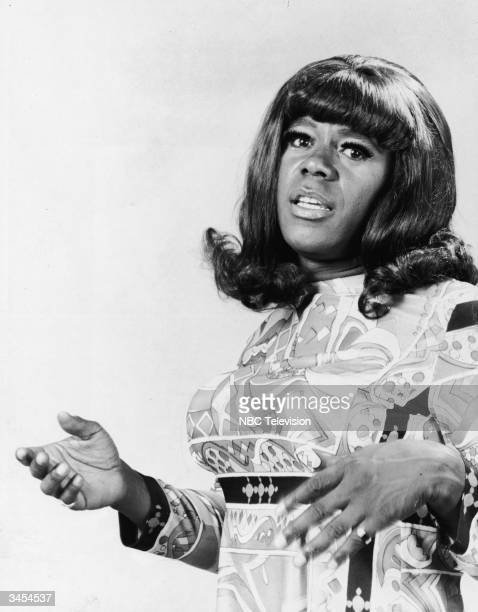 Promotional portrait of Flip Wilson wearing female drag as the character 'Geraldine' from the television series 'The Flip Wilson Show' 1971