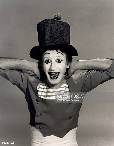 Promotional portrait of French mime artist Marcel Marceau, in character as 'Bip,' 1965.