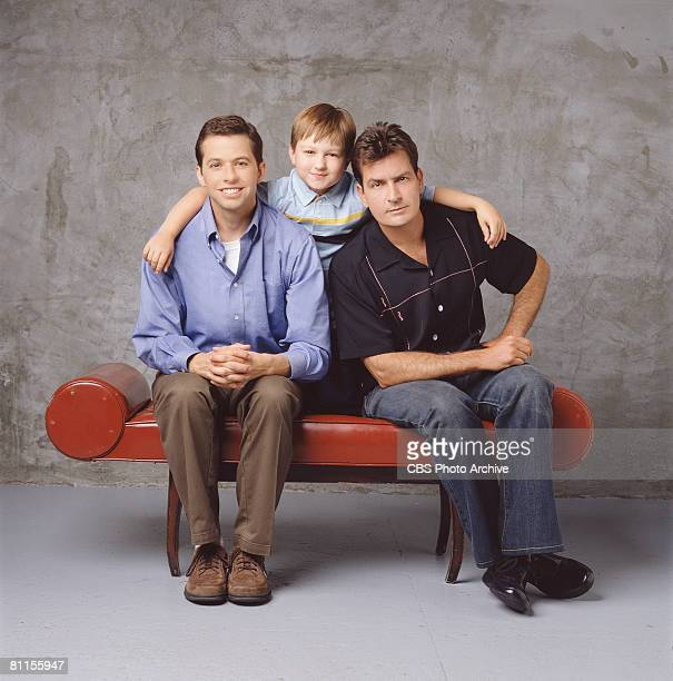 Promotional portrait of from left American actors Jon Cryer Angus T Jones and Charlie Sheen for the television comedy 'Two and a Half Men' Los...