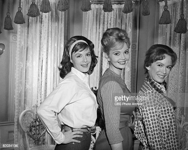 Promotional portrait of from left American actresses Pat Woodell Jeannine Riley and Linda Henning on the set of an episode of 'Petticoat Junction'...