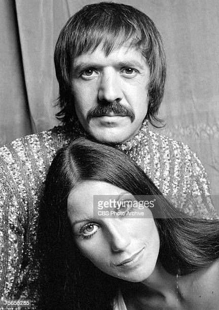 Promotional portrait of married American singing and acting duo Cher and Sonny Bono for the television variety show 'The Sonny and Cher Comedy Hour'...