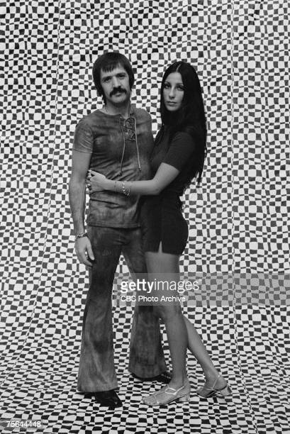 Promotional portrait of married American singing and acting duo Sonny Bono and Cher for the television variety show 'The Sonny and Cher Comedy Hour'...