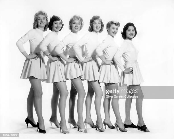 A promotional portrait of the actresses playing sixth form girls in the British comedy film 'Blue Murder at St Trinian's' directed by Frank Launder...