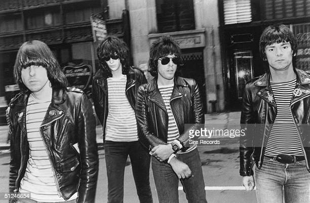 1981 Promotional portrait of the American punk rock group The Ramones Left to right Johnny Joey Marky and Dee Dee