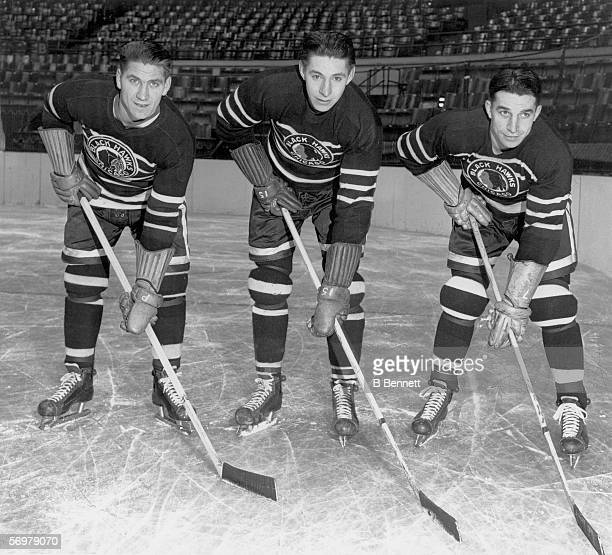 Promotional portrait of the Bentley brothers Reg Max and Doug all of the Chicago Blackhawks Chicago Illinois 1942