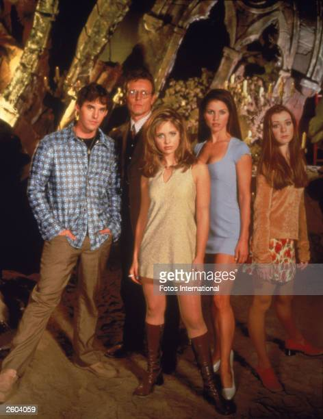 Promotional portrait of the cast for the television series, 'Buffy The Vampire Slayer,' c. 1997. L-R: Nicholas Brendon, Anthony Head, Sarah Michelle...