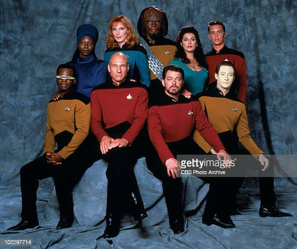 Promotional portrait of the cast of 'Star Trek The Next Generation' California 1987 Pictured are from left front row American actor LeVar Burton...