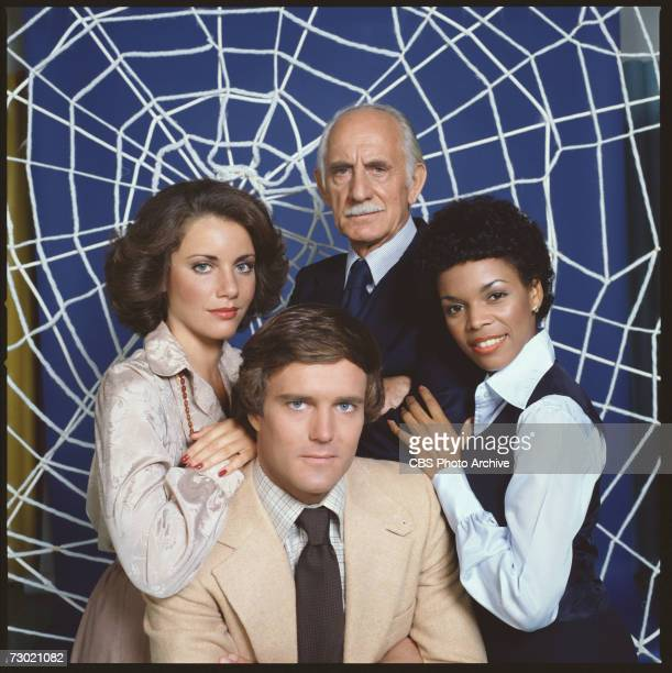 Promotional portrait of the cast of the CBS television series 'The Amazing SpiderMan' as they stand in front of a 'web' 1978 American actor Nicholas...