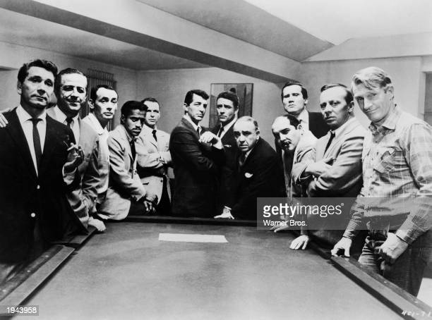Promotional portrait of the cast of the film 'Oceans 11' Richard Conte Buddy Lester Joey Bishop Sammy Davis Jr Frank Sinatra Dean Martin Peter...