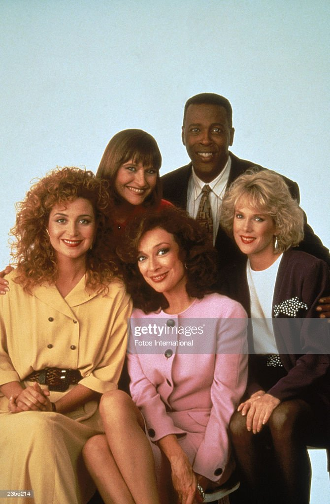 Promotional portrait of the cast of the television series, 'Designing Women,' c. 1991. Clockwise from left: Annie Potts, Jan Hooks, Meshach Taylor, Julia Duffy and Dixie Carter.
