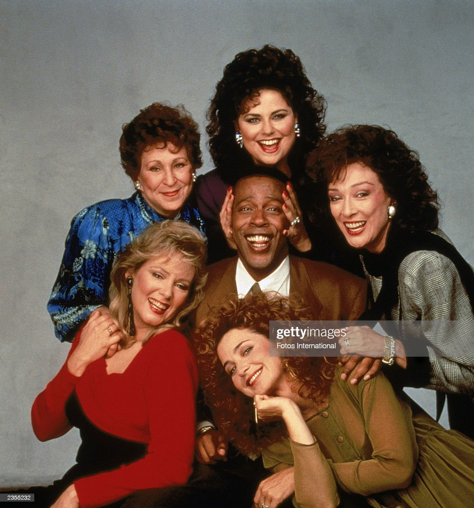 Promotional portrait of the cast of the television series, 'Designing Women,' c. 1987. Clockwise from bottom left: Jean Smart, Alice Ghostley, Delta Burke, Dixie Carter, Annie Potts and Meshach Taylor.