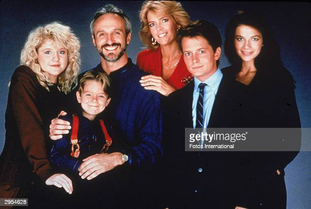 Promotional portrait of the cast of the television series 'Family Ties' circa 1989 LR Tina Yothers Brian Bonsall Michael Gross Meredith Baxter Birney...