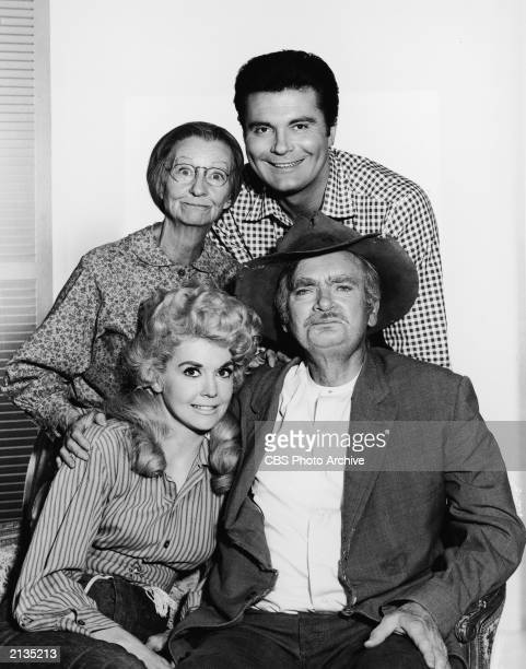 Promotional portrait of the cast of the television series 'The Beverly Hillbillies' c 1965 Clockwise from top American actors Max Baer Jr as Jethro...