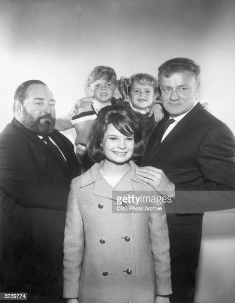 Promotional portrait of the cast of the television show 'Family Affair' Clockwise Sebastian Cabot Johnny Whittaker Anissa Jones Brian Keith and Kathy...