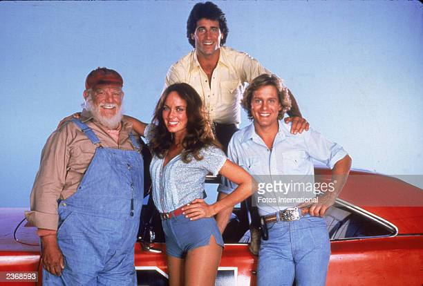 """Promotional portrait of the cast of the television show, """"The Dukes of Hazzard,"""" circa 1982. Left to right: Actors Denver Pyle , Catherine Bach,..."""