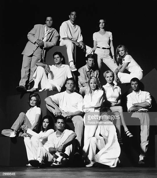 Promotional portrait of the cast of the TV series 'Melrose Place 1996 Top LR Rob Estes Andrew Shue Marcia Cross 2nd row LR Thomas Calabro Jack Wagner...