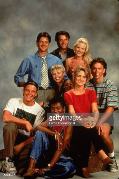 Promotional portrait of the cast of the TV series 'Melrose Place' circa 1992 CW LR Thomas Calabro Josie Bissett Grant Show Amy LocaneAndrew Shue...