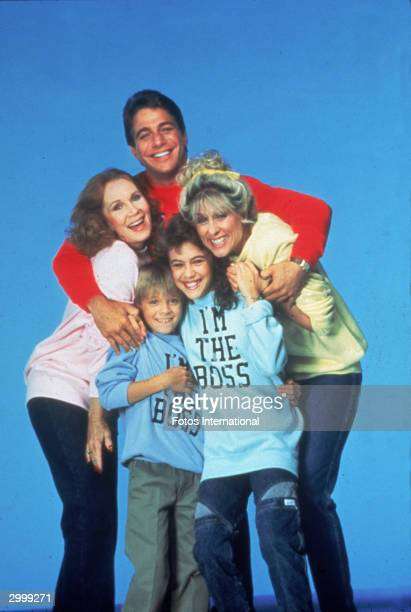 Promotional portrait of the cast of the TV series 'Who's The Boss' circa 1985 CW Actors Tony Danza Judith Light Alyssa Milano Katherine Helmond and...