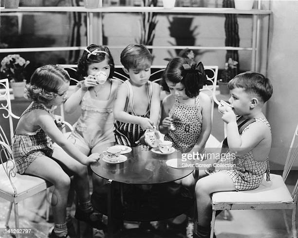 A promotional portrait of the child cast of the Hal Roach 'Our Gang' film series circa 1935 Left to right Marianne Edwards Eileen Bernstein Scotty...