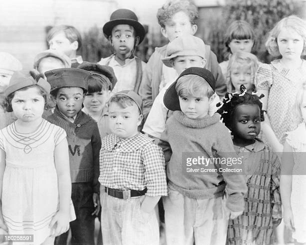 A promotional portrait of the child cast of the Hal Roach 'Our Gang' film series circa 1935 At far left is Eileen Bernstein and from third left are...
