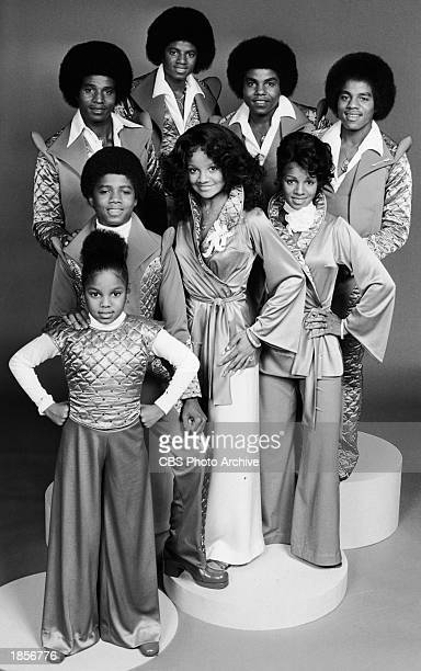Promotional portrait of the Jackson family, : Janet, Randy, Jackie, Michael, Tito, Marlon, LaToya and Rebbie Jackson, c. 1977.